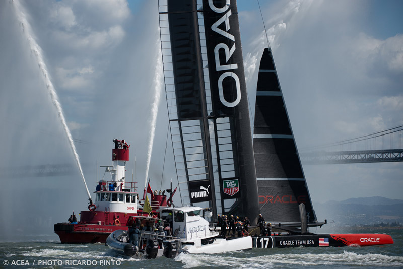 Oracle Team USA defends the America's Cup.  Image:©2013 ACEA/Photo: Ricardo Pinto