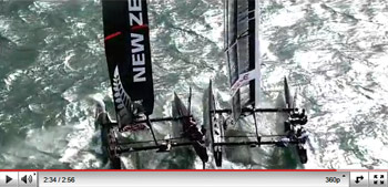 Video still of AC45 multihulls in trials, Auckland, NZ. Image copyright 2011 americascup.com