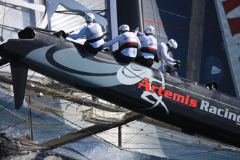rtemis beat Energy Team in the quarterfinal, only to be undone by gennaker problems against Oracle (Spithill) in their semifinal match. Photo:�2011 Gilles Martin-Raget/americascup.com
