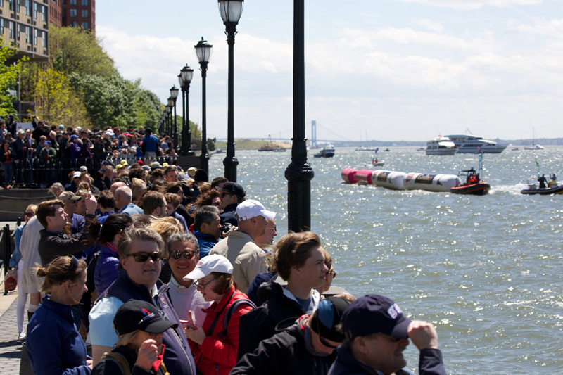 Looking south from the Marina along Battery Park City.  Organizers report crowds approaching 100,000 people.