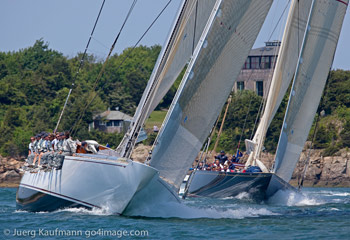 J-Class yachts Ranger and Velsheda Racing in Newport, RI. Photo copyright Daniel Forster go4image.com