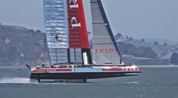 Luna Rossa's AC72 tuning up for the Louis Vuitton Cup on San Francisco Bay. Click image to enlarge and see more photos. Photo:�2013 Chuck Lantz