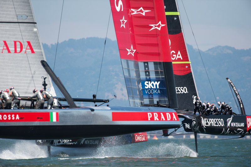 Italy's Luna Rossa AC72 chases Emirates Team New Zealand in the 2013 Louis Vuitton Cup.  Photo:©2013 ACEA/Gilles Martin-Raget