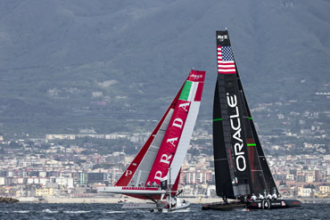 Luna Rossa Swordfish and Oracle Slingsby in the Match Race Final, Sunday. Photo:�2013 Luna Rossa/Carlo Borlenghi