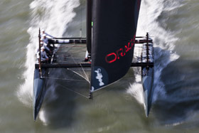Oracle Racing's AC45. Click image to enlarge and read article at CupInfo.  Image (C)2012 Guilain Grenier/Oracle Racing