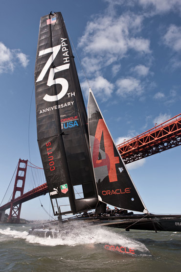 Golden Gate YC's Oracle Team USA celebrates the 75th anniversary of the Golden Gate Bridge. Photo:�2012 ACEA/Gilles Martin-Raget