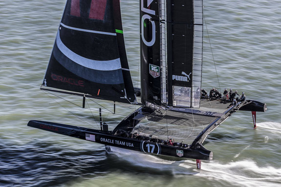 Oracle's AC72 yacht foiling on San Francisco Bay in February. Click image to view gallery. Photo:�2013 Guilain Grenier/Oracle Team USA