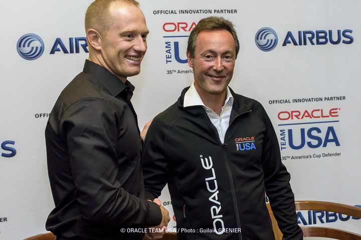 James Spithill (L), Skipper of 2017 America's Cup Defender Oracle Team USA, greets Fabrice Br�gier, President and CEO of Airbus, as they announce a renewed partnership to share technical innovations.