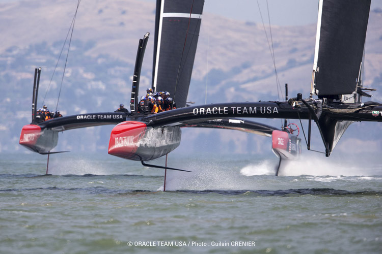 Oracle AC72 #2 in front, #1 behind.  Photo:�2013 Oracle Team USA/Guilain Grenier