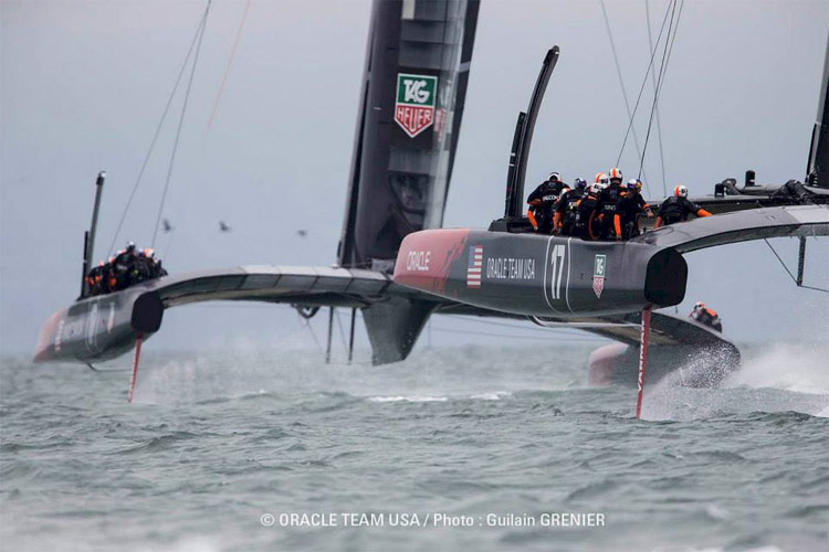 Oracle AC72 #1 in the lead, at left, AC72 #2 at right.  Photo: �2013 Oracle Team USA/Guilain Grenier