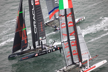 Oracle Spithill left the fleet far behind to win Race 6. Click image to enlarge and read Day 4 quotes.  Photo:©2012 ACEA/Gilles Martin-Raget