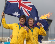 Nathan Outteridge with teammate Iain Jensen. Photo:�2012 Daniel Forster/go4image.com