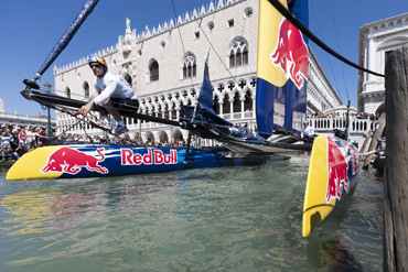 Red Bull demonstration boat in Venice.  Photo:�2012 ACEA/Gilles Martin-Raget