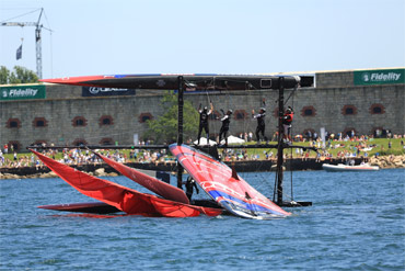 ETNZ troubles in Newport. Photo:�2012 ACEA/Gilles Martin-Raget