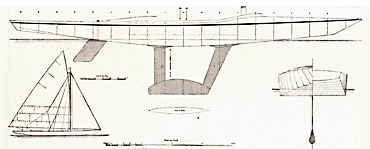 First known twin-fin design. Click image to enlarge and read more. Image from The Yachtsman (1898)/Jacques Taglang Collection